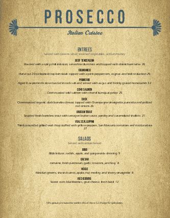 Customize Elegant Italian Menu