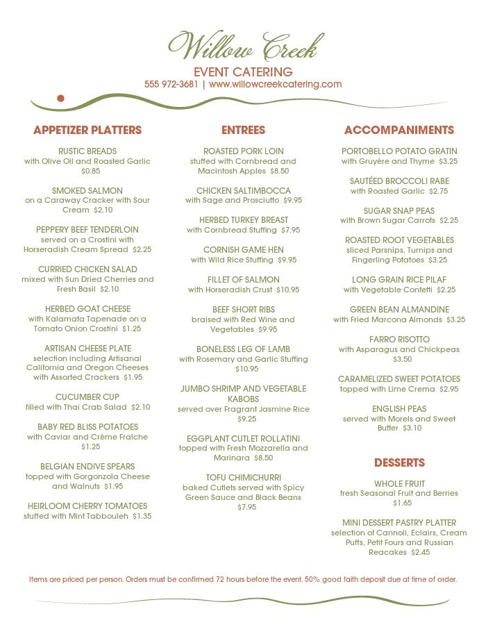 Event Banquet Menu