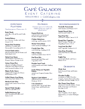 Superior Graduation Party Catering Menu For Catering Menu Template Free