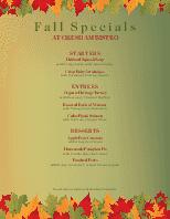 Fall Specials Menu