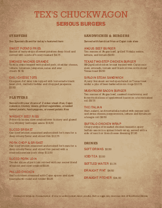 Customize Family Burgers Menu
