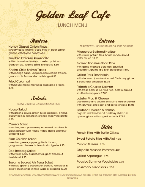 Customize Family Cafe Menu