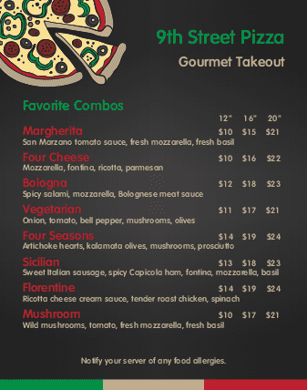 Customize Family Pizza Wall Menu