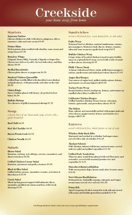 american menu templates - ready to customize