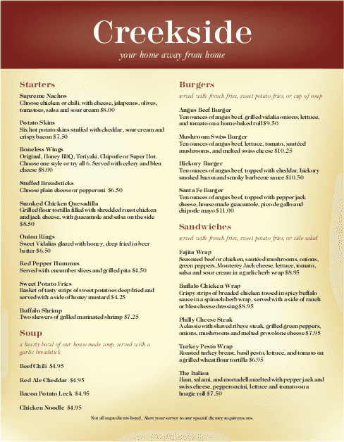 Customize Family Restaurants Menu