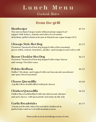 Customize Family Restaurant Poster Menu