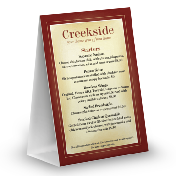 Table tents for restaurants musthavemenus for Table table restaurant menu
