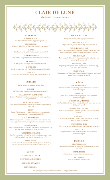 Customize Fancy French Menu