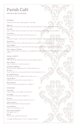 Customize Fine Dining Dinner Menu