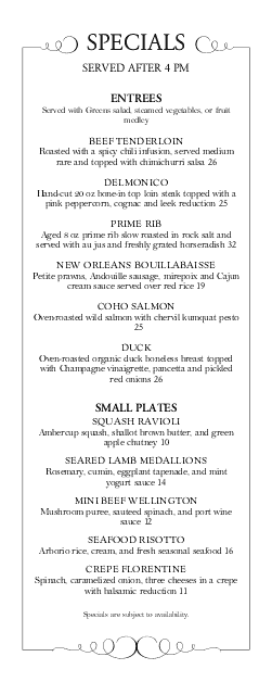 Customize Fine Dining Daily Specials Menu