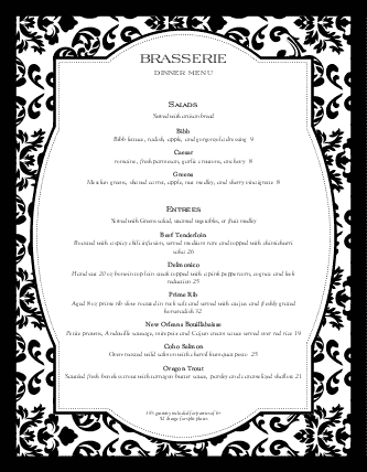 Customize Fine Restaurant Cocktail Menu