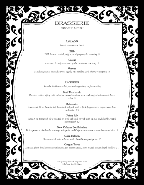Customize Fine Restaurant Dining Menu