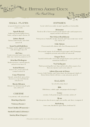 Customize A4 French Bistro Menu