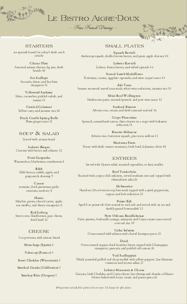 Customize French Bistro Long Menu
