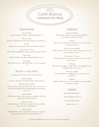 Customize French Fine Dining Menu