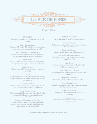 Customize A French Menu