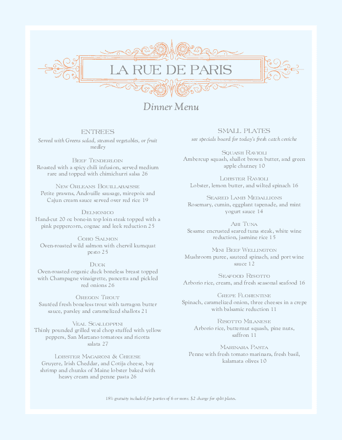 A French Menu