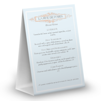 French Table Tent Menu