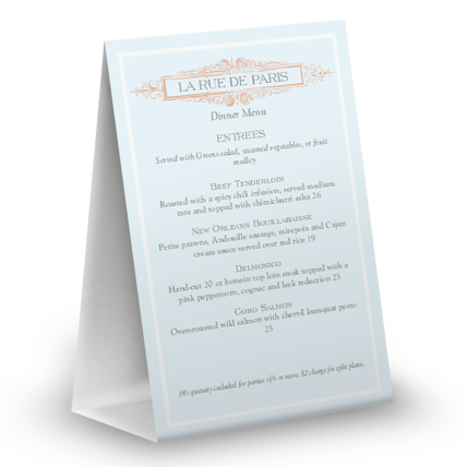 View French Table Tent Menu