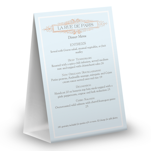 Customize French Table Tent Menu
