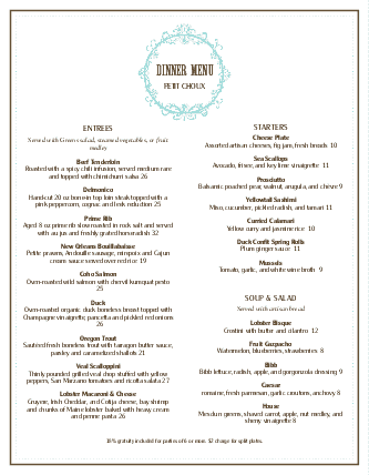 Cafe Bistro Christmas Menu