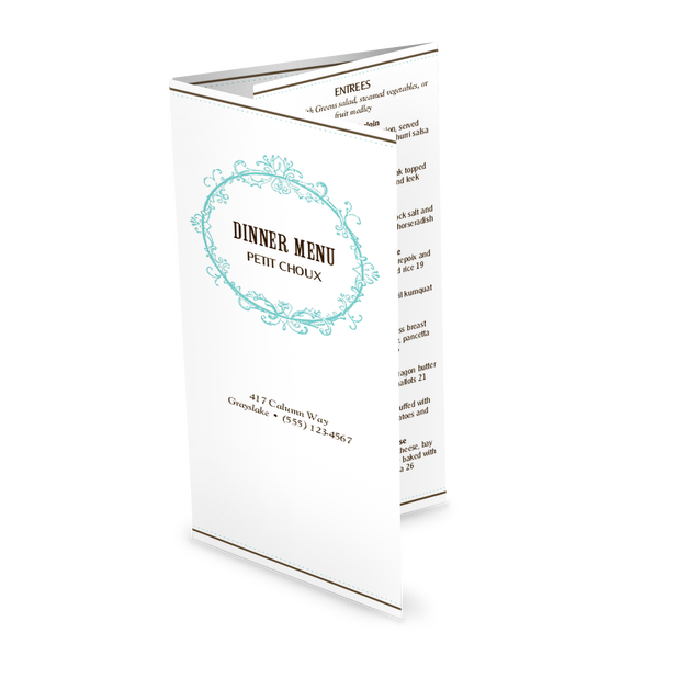 Customize French Restaurant Folded Menu