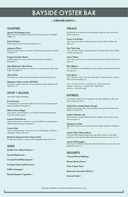Customize Tabloid Fresh Seafood Menu