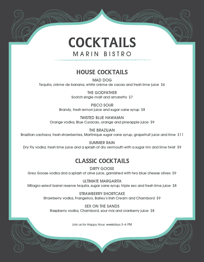 Frozen Cocktail Menu