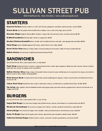 Customize Gastro Pub Menu