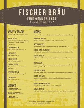 German Cafe Breakfast Menu