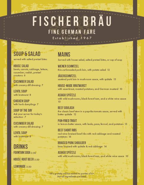 Customize German Foods Menu