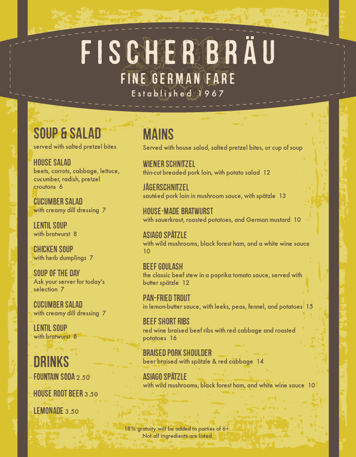 German Foods Menu