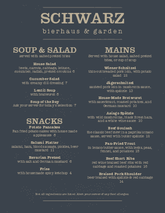 Customize German Pub Menu