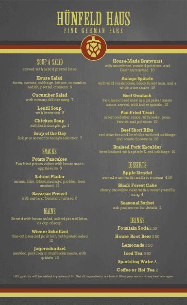 German restaurant menu menus