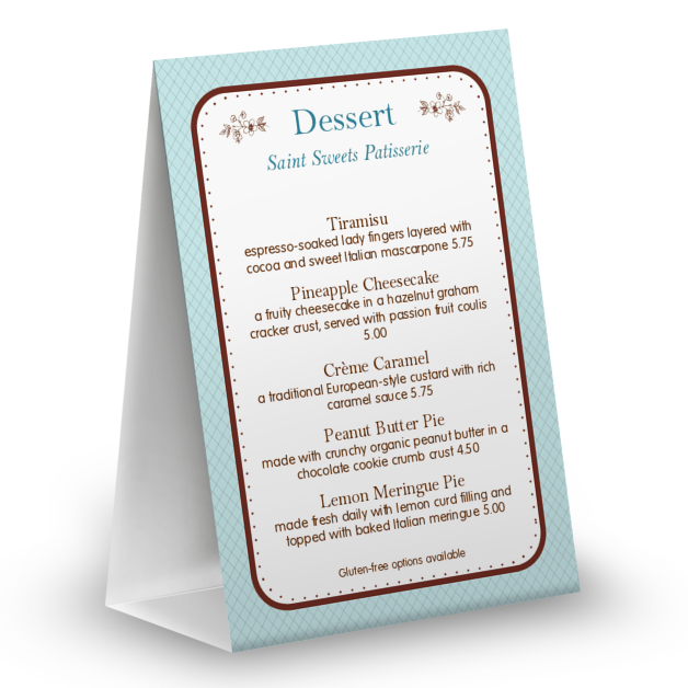 Customize Gourmet Bakery Table Tent