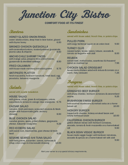 Customize Gourmet Cafe Menu