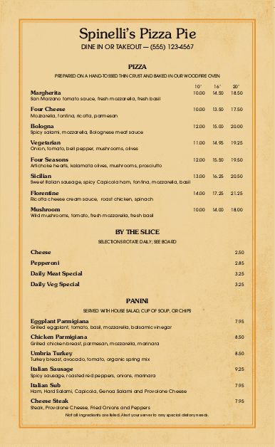 Customize Gourmet Pizzeria Menu