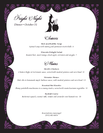 Customize Halloween Restaurant Menu
