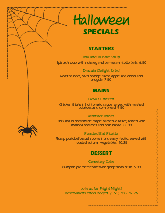 Customize Spider Halloween Menu