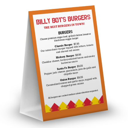 View Hamburger Table Tent Menu