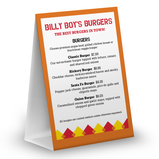 Customize Hamburger Table Tent Menu