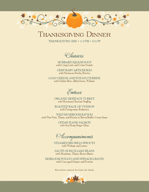 Customize Happy Thanksgiving Menu