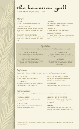 Customize Hawaiian Food Menu