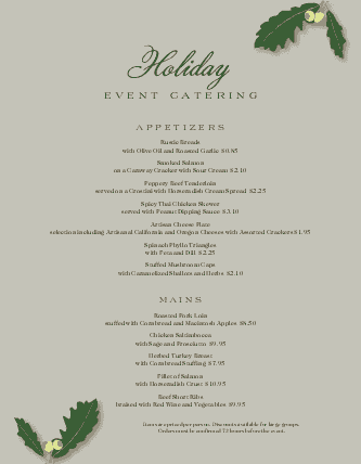 Customize Holiday Catering Menu