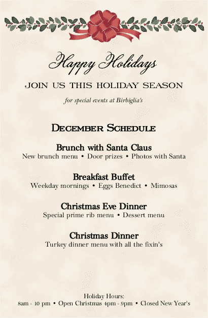 holiday dinner flyer christmas flyer. Black Bedroom Furniture Sets. Home Design Ideas