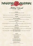 Holiday Dinner A4 Menu