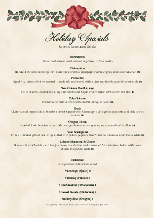 view holiday dinner a4 menu