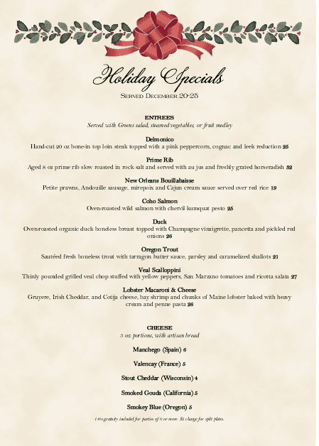 Customize Holiday Dinner A4 Menu