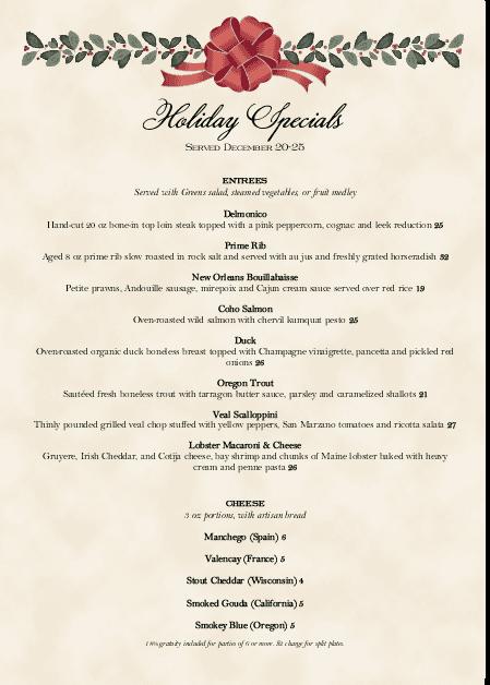 Customize Holiday Dinner A4 Menu
