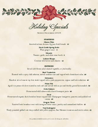 Customize Holiday Dinner Menu